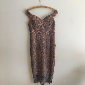Off Shoulder Lace Midi Dress